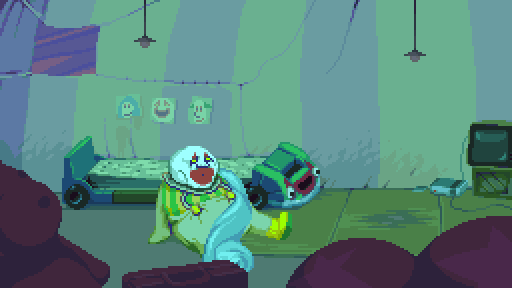 Dropsy waking up from a dream.