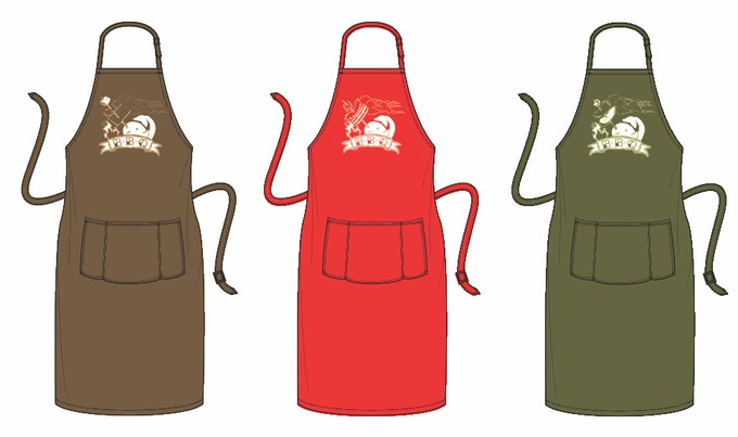 Medium-length apron in sweet-tooth, carnivorous or vegetarian narwhal screenprints