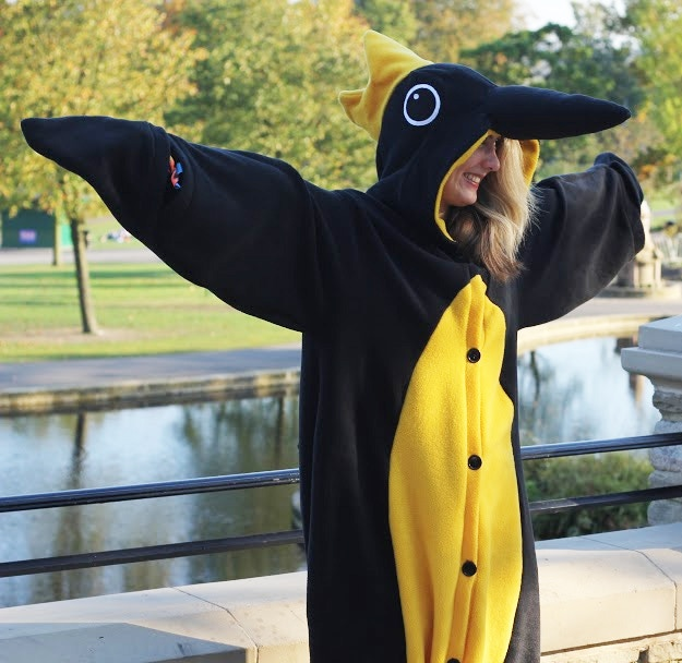 That's a BIG BIRD! Hanging loosely on the body, you can slip in and out of this YBP onesie in seconds - you can even wear your own clothes underneath! Plus it comes with all sorts of goodies. You want this, don't lie.