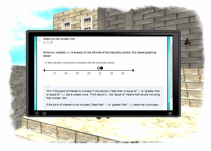 A virtual learning tablet assists Pi when math trouble is detected.