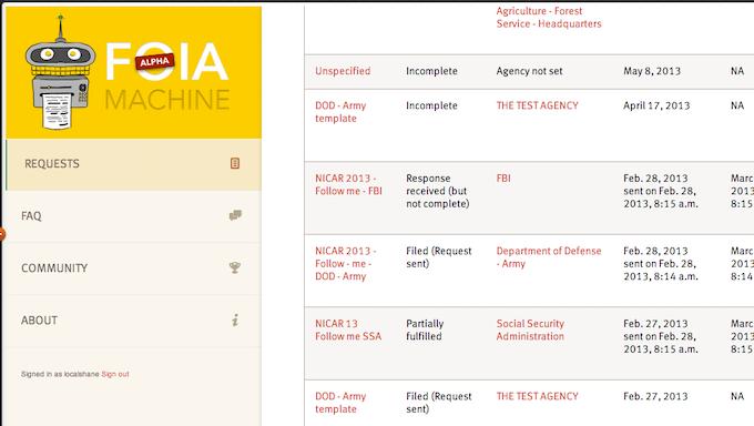 FOIA Request screen shot