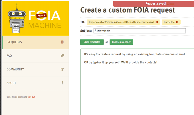 Foia machine by the center for investigative reporting kickstarter starting a foia request maxwellsz