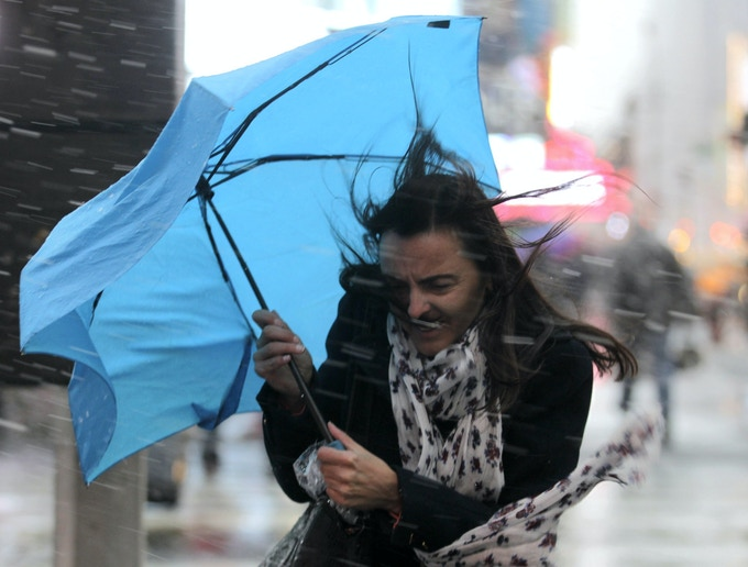 The typical umbrella in strong winds
