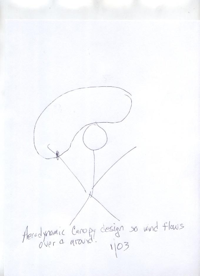 Aerodynamic design so wind flows over and around