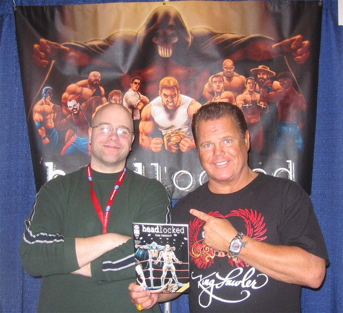 """Writer Mike Kingston and """"The King"""" w/ his cover to """"The Tryout"""" #1"""
