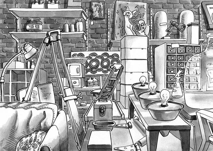 Space Oddity Furniture, Seattle. India Ink.