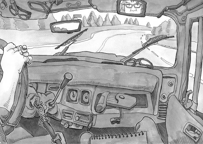Jeep Ride, Tacoma. India Ink.