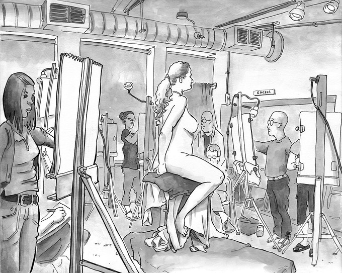 Figure Drawing Session, GAGE Art Academy, Seattle. India Ink.