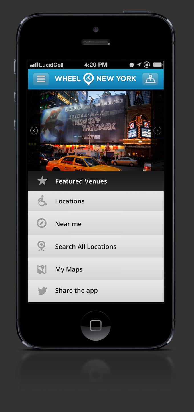 Wheel New York App Home Screen