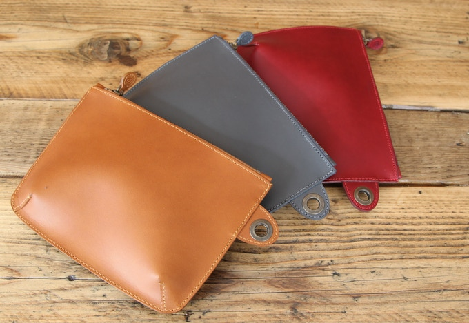 Buckitt Pouch accessory - here in Tan, Grey & Wine