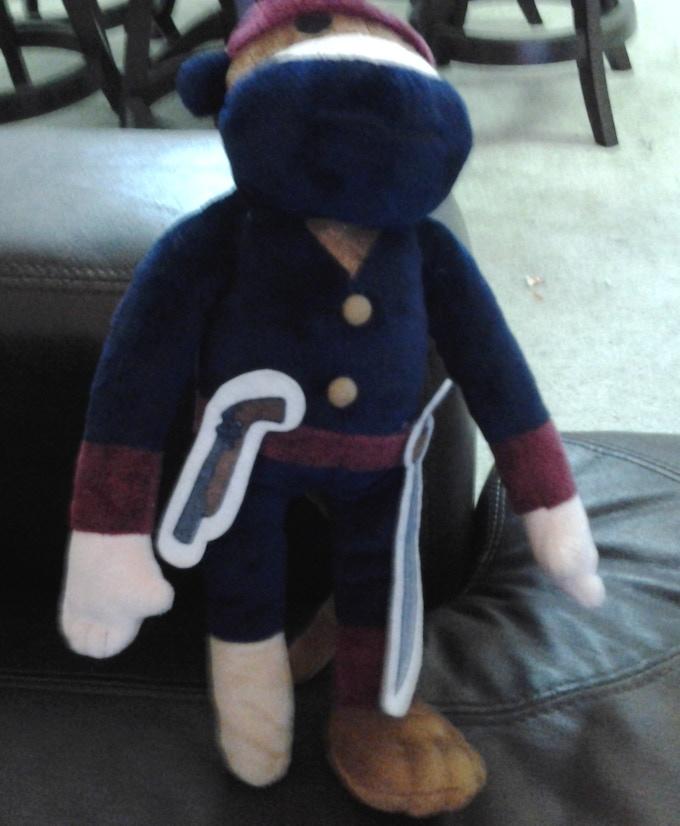 The prototype of the Pirate Ninja Monkey Plush.