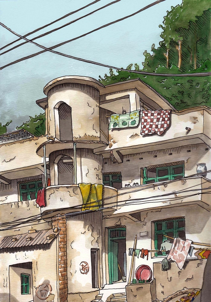 Tagged for Demolition, Jingdezhen, China. Watercolor.