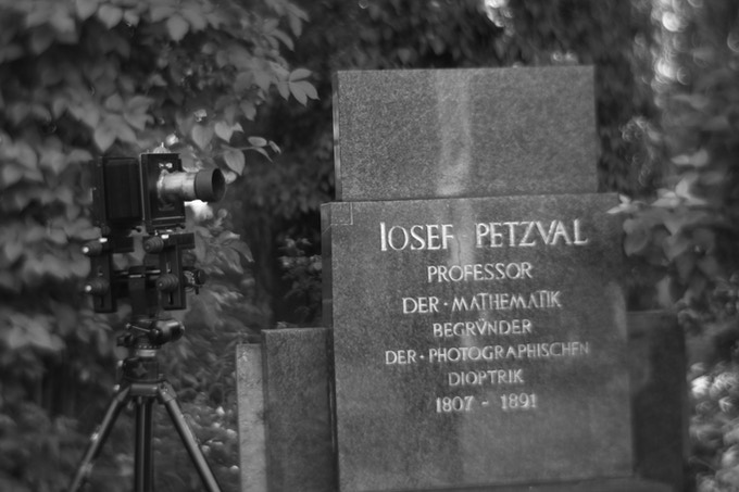 The Petzval Lens with Josef Petzval's grave in Vienna