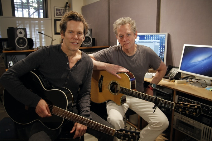 "Actor/musician Kevin Bacon (left) and Composer/musician Michael Bacon (right) perform ""My Adirondack Home"""