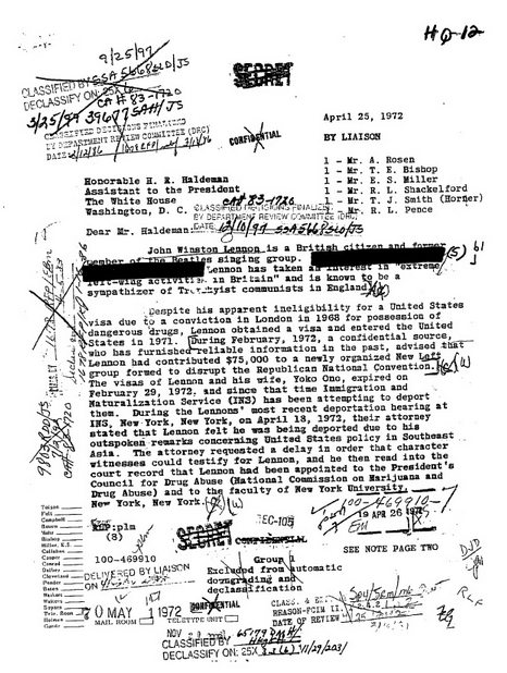 "J. Edgar Hoover 1972 letter citing potential danger posed to U.S. by ""former member of the Beatles singing group"" John Lennon, released via FOIA request."
