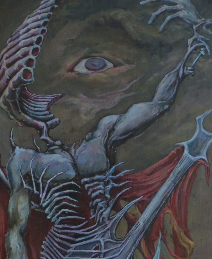 "A detail portion of artist D.H. Covey's ""Guitarist #2"""