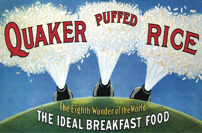 """Quaker marketed puffed rice cereal as """"the food shot from guns."""" Courtesy of the Anderson Center at Tower View."""