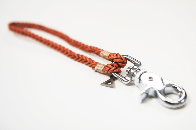 Absidee Hand Woven Keychain (Orange) w/ laser cut charms from Santa Barbara, CA