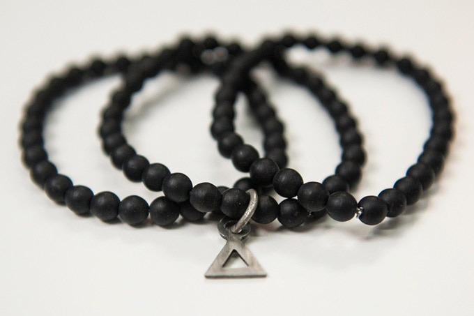 (Comes in Pack of 3 ) Absidee Hand Made 6mm Matte-Black Glass Bead Bracelets w/ Custom laser cut charms from Santa Barbara, CA