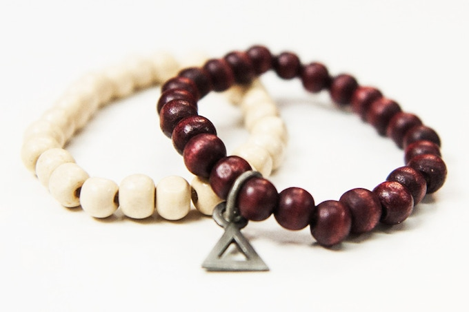 (Comes in Pack of 2 ) Absidee Hand Made 8mm Wooden Bead Bracelets w/ Custom laser cut charms from Santa Barbara, CA