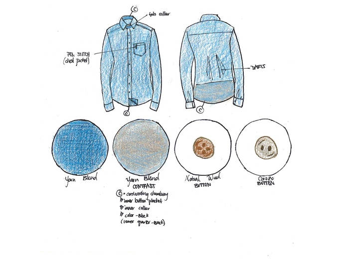 Prototype Sketch for Long Sleeve Button-Down Chambray. Featuring a color-block herringbone pattern on the back quarter.