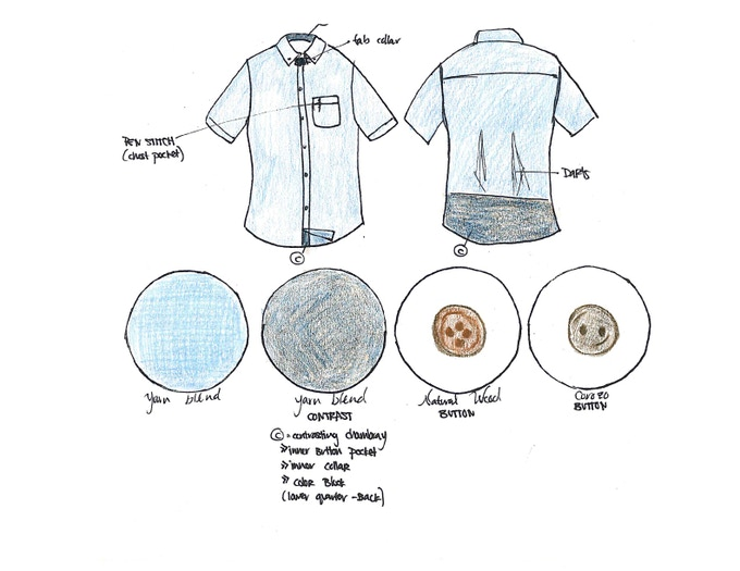 Prototype Sketch for Short Sleeve Button-Down Chambray. Featuring a color-block herringbone pattern on the back quarter.