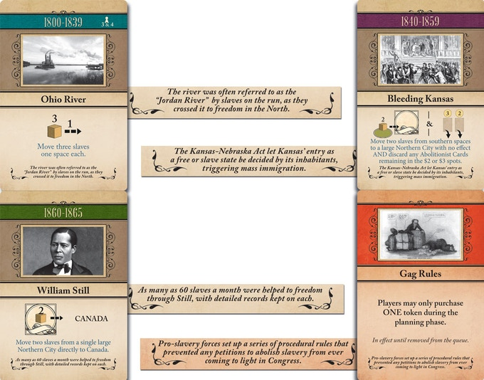 An example of cards depicting historical people, places and events during the period.