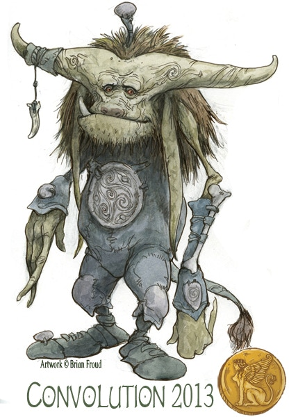"""This is the image for the 4""""w x 6""""h static window cling. The art is """"Romantic Troll"""", by Guest of Honor Brian Froud.  Who ever guessed Trolls could be romantic?"""