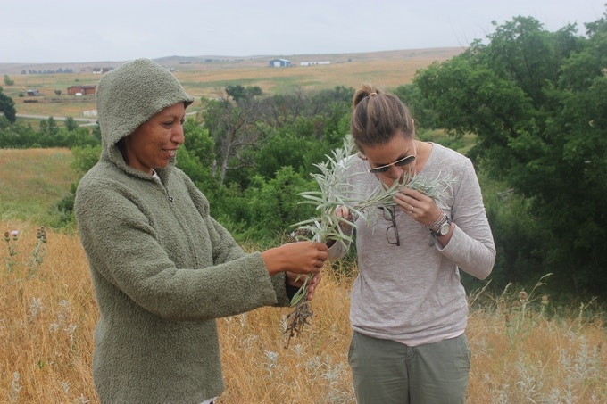 One of our artisans, Tamara, and our founder, Elizabeth, picking wild sage