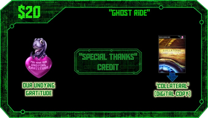 $20 or more: A digital copy of Collateral upon release, our undying gratitude, and a 'special thanks' credit.