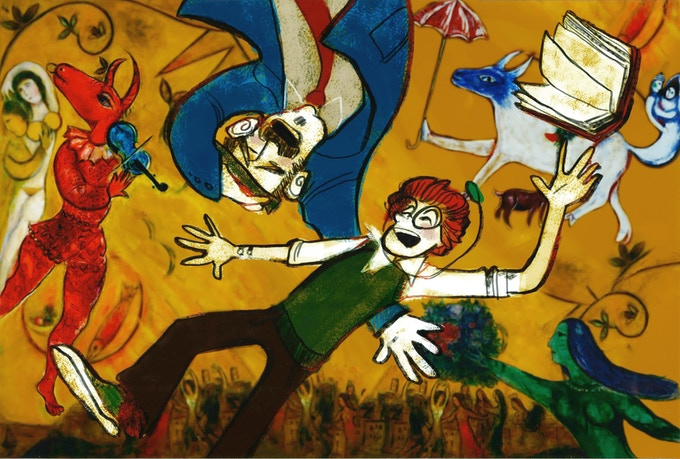"""Floating in a Chagall (the """"rules"""" or """"physics"""" of the painted worlds change according to their own logic) -- love this one."""