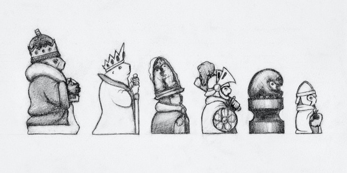 Proportional mock-up sketch of each size of chess piece.