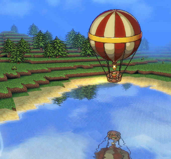 A balloon arriving in the strange lands across the sea.