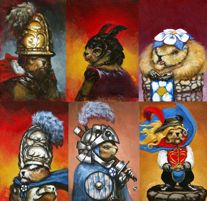 "First generation Marmot Chess concepts. 4.5""x6.5"" each. Acrylic on paper. 2011."