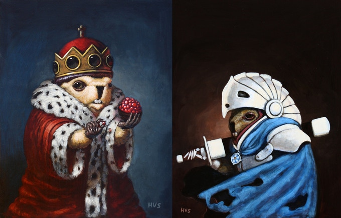 "Second generation Marmot Chess concepts. 8""x10"" each. Acrylic on Panel. 2012"