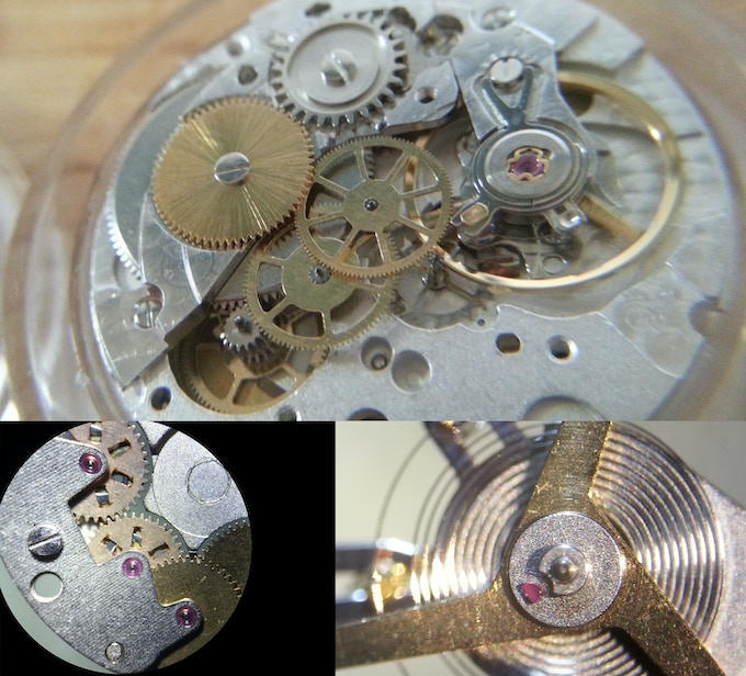 The Tessera movement is a 25 jewel 28,800 bph bidirectional autowind. Shown here are the exposed train gears, automatic gears, and underside of the balance wheel. The gear pivots are well burnished and the movement plates are rhodium with a perlage finish