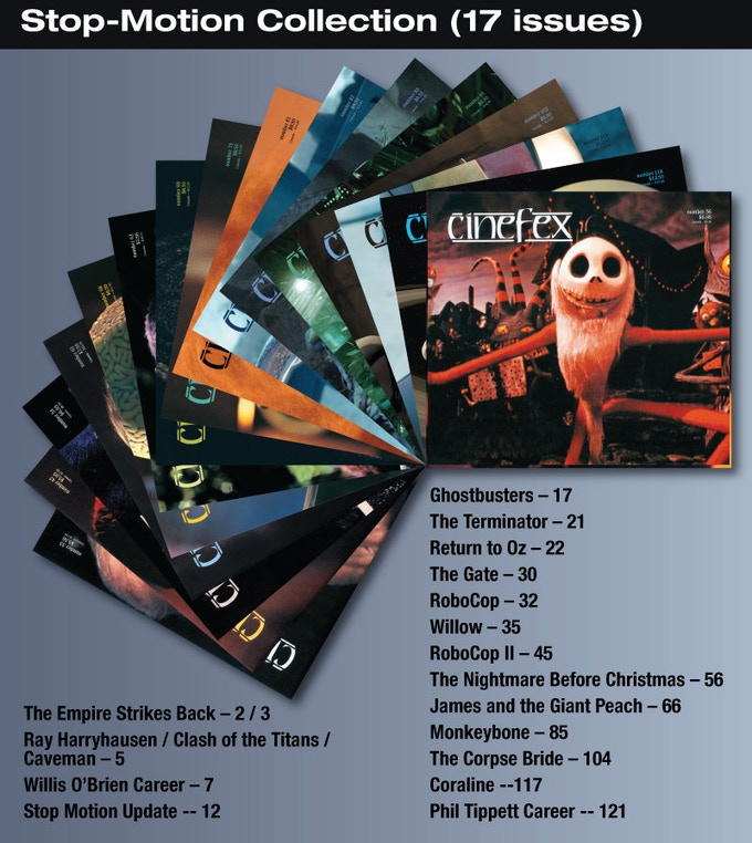 For the $50 backer level, you will be able to download to your iPad, these 12 issues of Cinefex on Stop-Motion Animation.