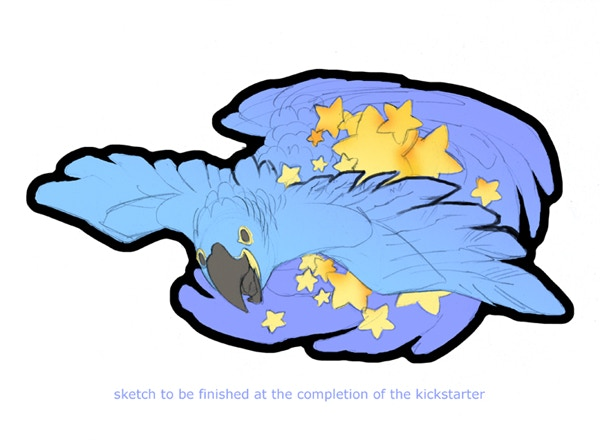 Sticker design by Cari Corene featuring a Hyacinth Macaw