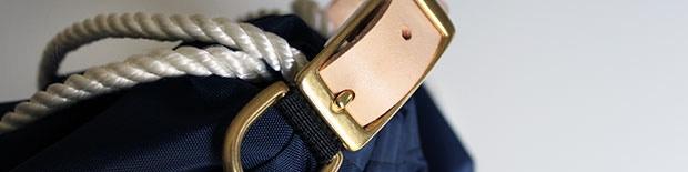 Navy Bag, White Marine Ropes, Natural Genuine Leather Straps, Brass Finishes.