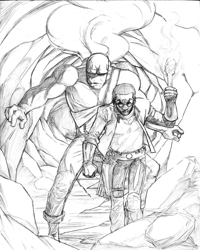 """Pencils for one of two available fine art prints. Final version will be full color, and printed at 11.7"""" x 16.5"""" (A3)."""