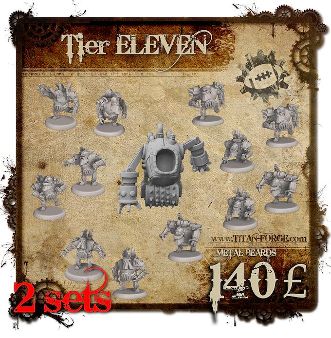 2x Full Steampunk Dwarfs Team (12x Blocker, 4x Runner, 4x Blitzer, 4x Crusher, 2x Grinder). Astrologers proclaim week of the Dwarf. The Dwarf population doubles.