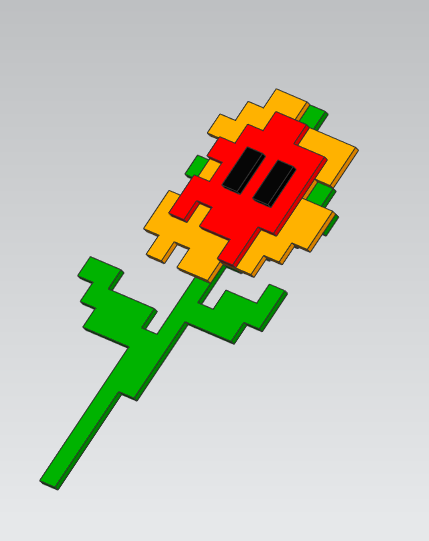 A concept design for the 8-bit laser-cut flowers by Lyra Levin. We're still in the brainstorming phase, so colors/shapes are subject to change!
