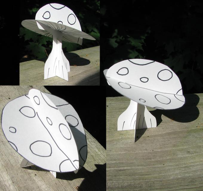 The original cardstock version of Bertie the Giant Mushroom basking in the sunlight.
