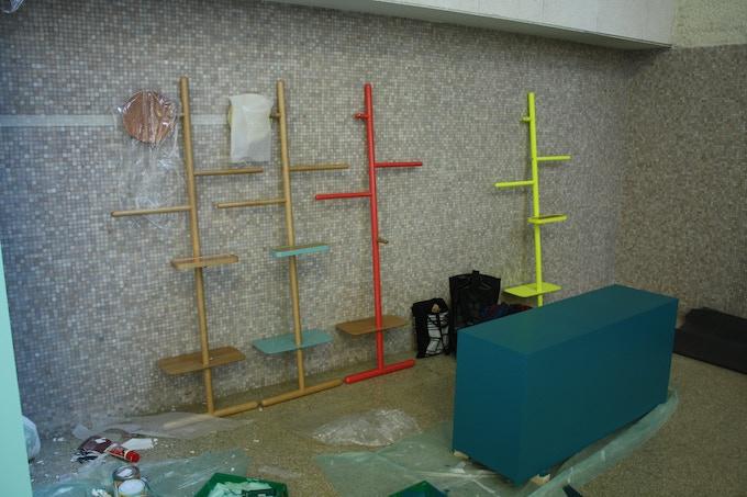 Camerino prototypes being prepared for Salone del Mobile in Milan, April 2013
