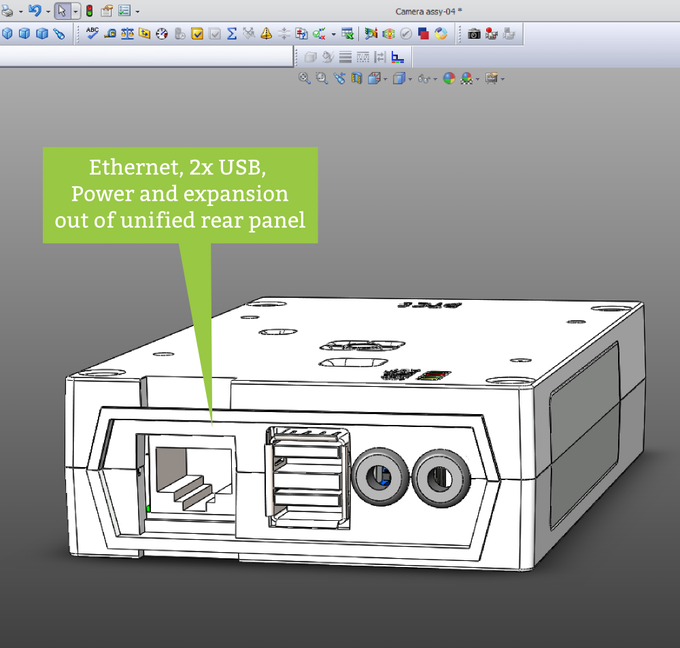 Ethernet, 2x USB, Power and expansion all out of the rear