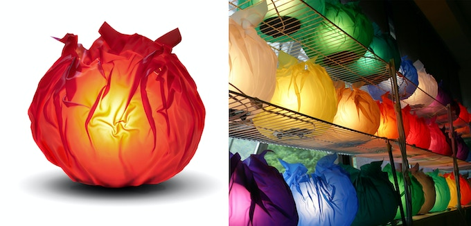 """CRINKLE LAMPS"" in 13 assorted colors in studio"