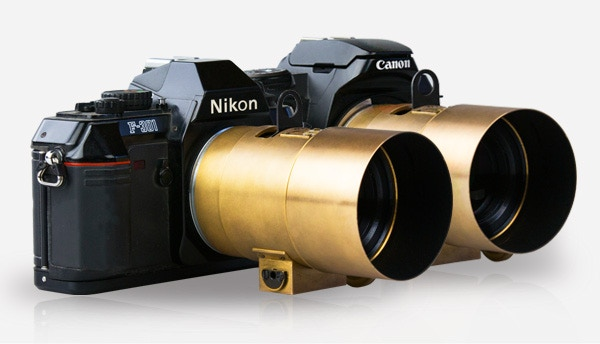 The Lomography Petzval Lens attached to analogue Canon and Nikon SLRs