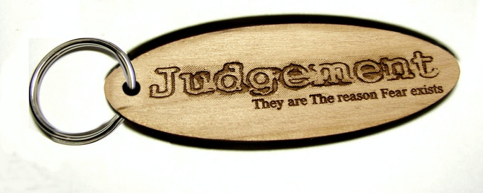 "Sample Key Fob in 'Alder' Wood  3.3"" x 1.1"" (final version will come with black split ring and 'The' will not be capitalized))"
