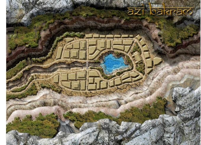 Azi Bakram a small town hidden in a mountainous canyon