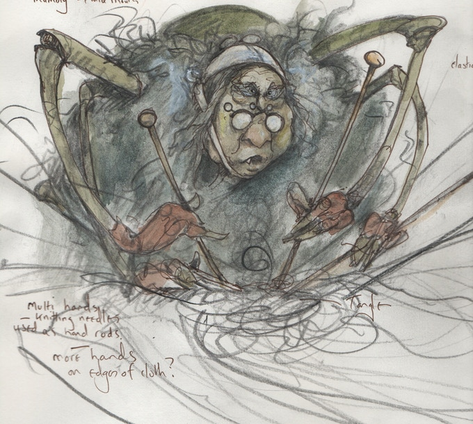 Working Brian Froud Design for the Granny.  (This is not the print reward, but give you an idea of the character)